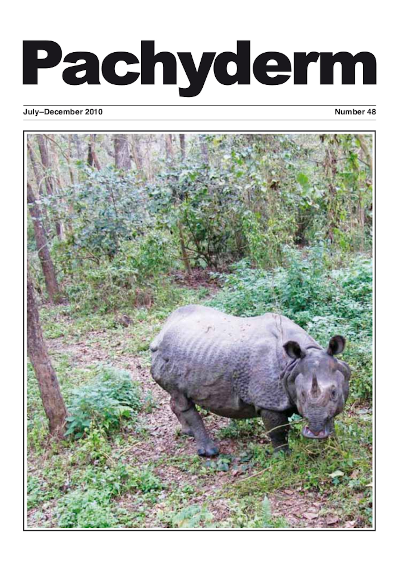Cover: A greater one-horned rhino (Rhinoceros unicornis) in Chitwan National Park, Nepal, photographed from elephant back. Photo: Esmond Martin
