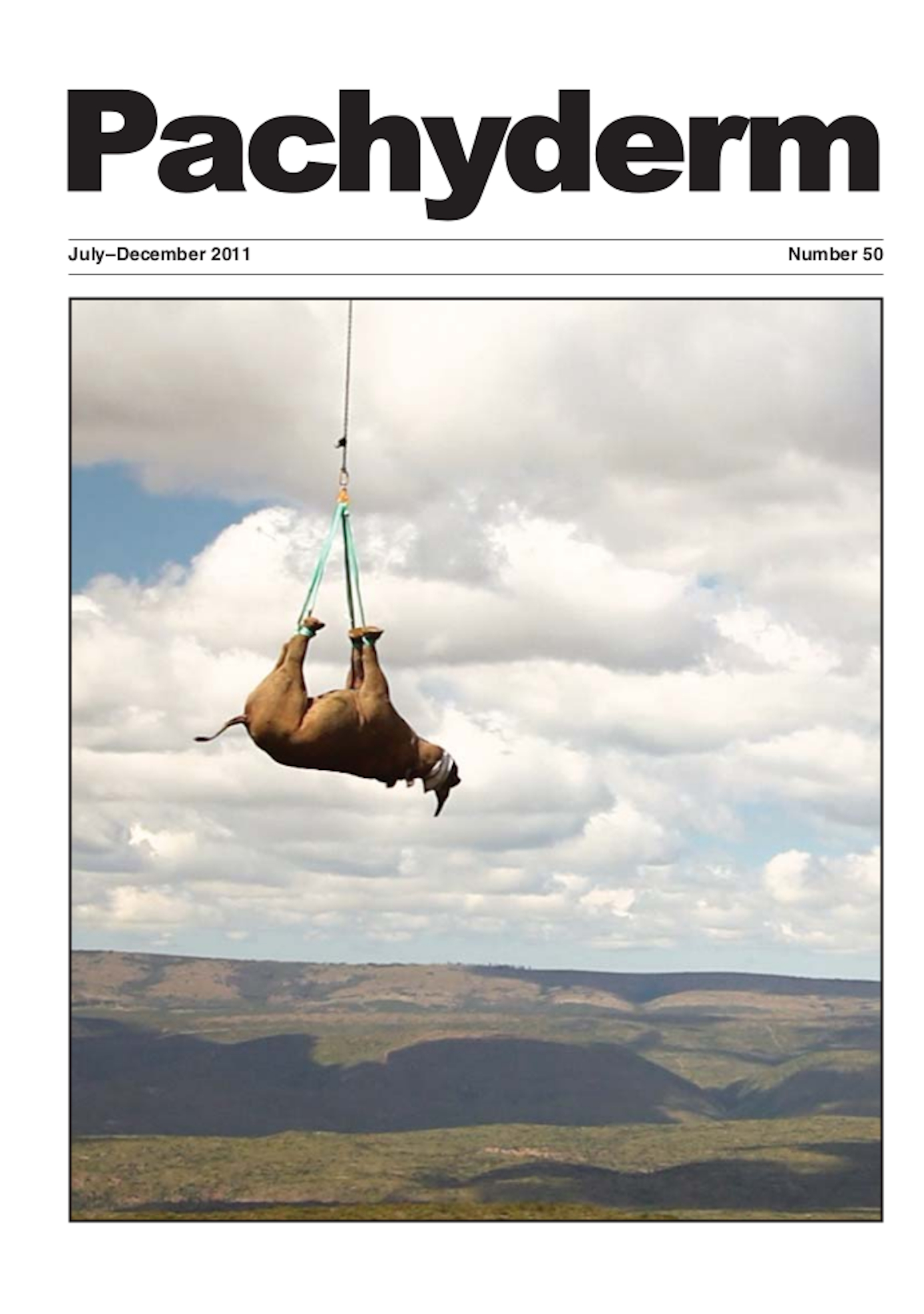 Cover: Immobilized black rhino (Diceros bicornis minor) being air-lifted out of a nature reserve in the Eastern Cape Province of South Africa. See brief note on page 68. Photo: © WWF/Green Renaissance